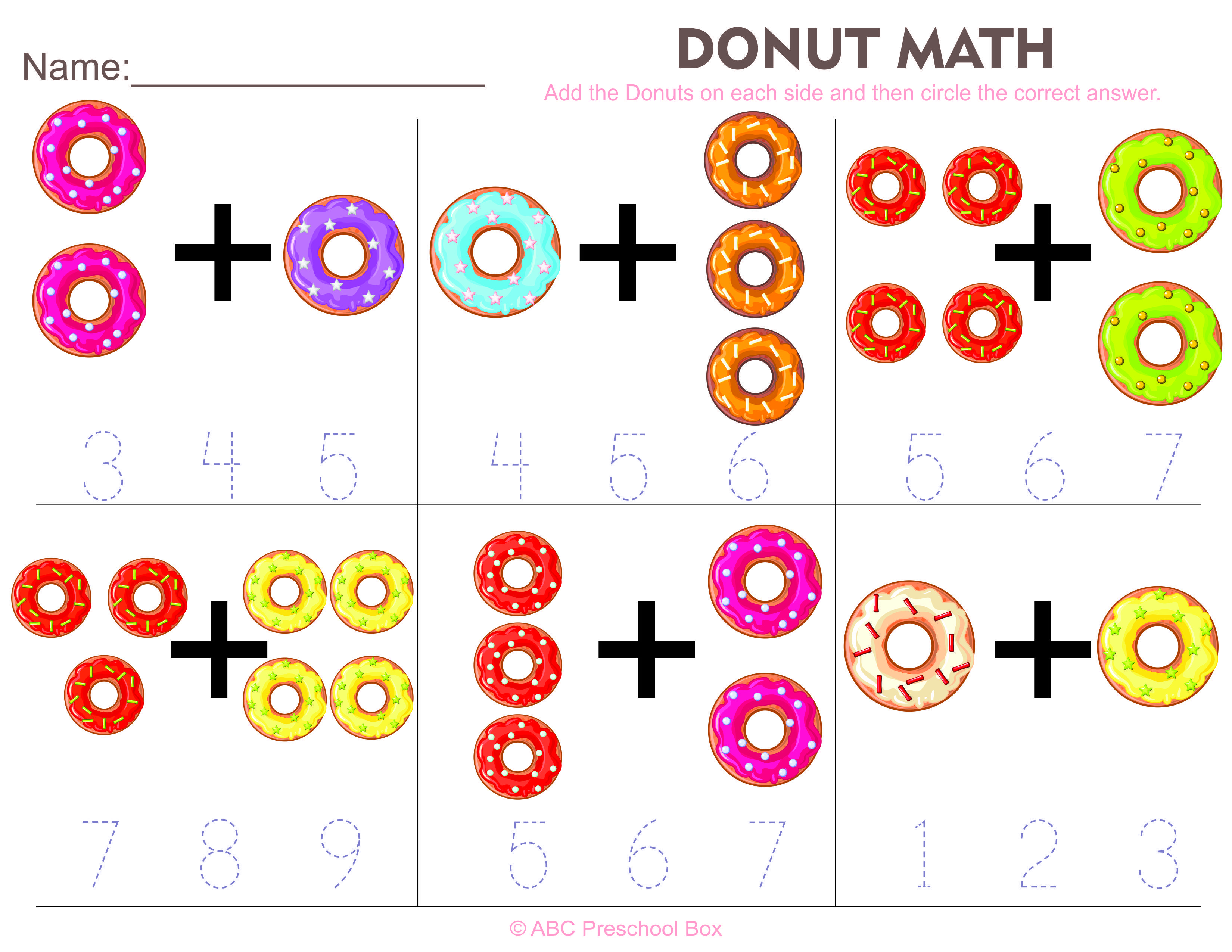 donut math preschool worksheet from abcpreschoolbox.com