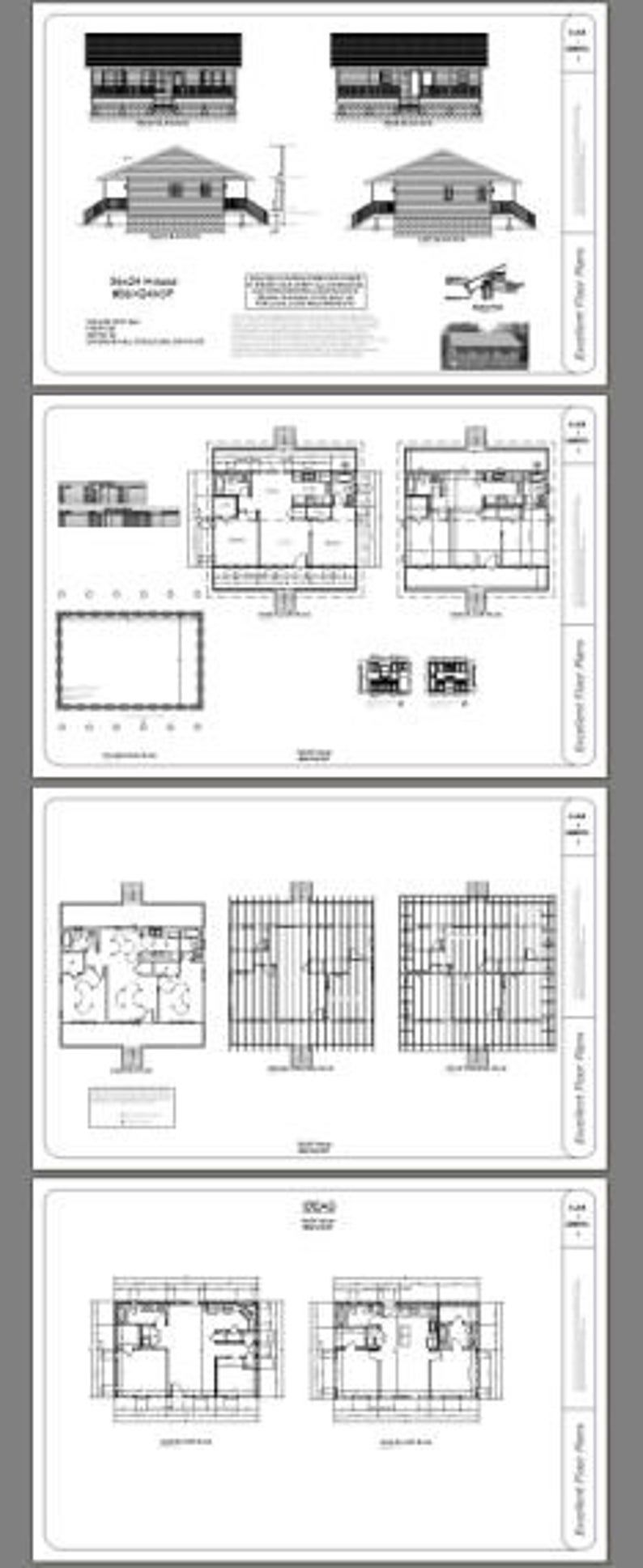 36x24 House 2 Bedroom 2 Bath 864 Sq Ft Pdf Floor Plan Etsy In 2020 Floor Plans Cabin House Plans Roof Framing