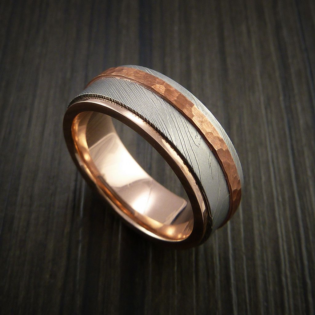 Damascus Steel 14K Gold Ring with Hammered Copper Inlay - Revolution Jewelry