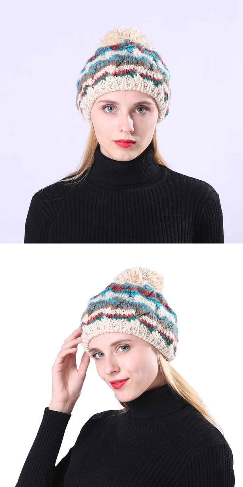 6214670879a Cable knitted bobble hat plain mens womens beanie warm winter pom wooly cap  women s knitted fashion caps for women hats winter  acrylic  adult  women  ...