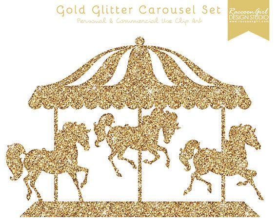 Clip Art Carousel Clipart 50 off gold glitter carousel clip art set by raccoongirldesign birthdays pinterest and glitter
