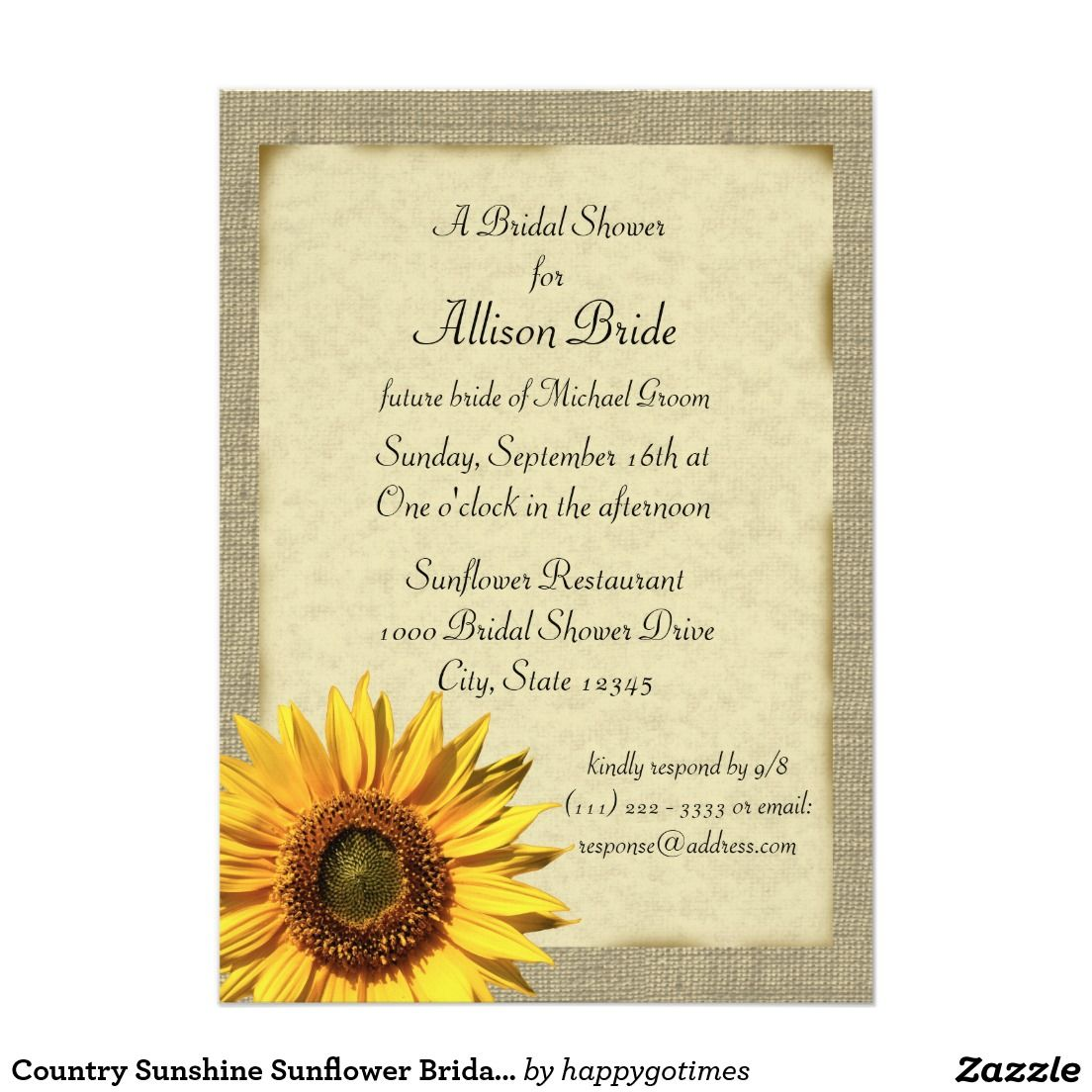 Country Sunshine Sunflower Bridal Shower Card | Bridal shower ...