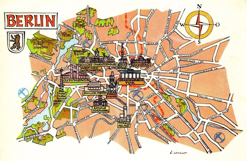 Vintage Germany Picture Map Berlin Germany Pictorial Map ...