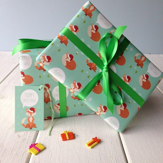 Christmas fox gift wrap