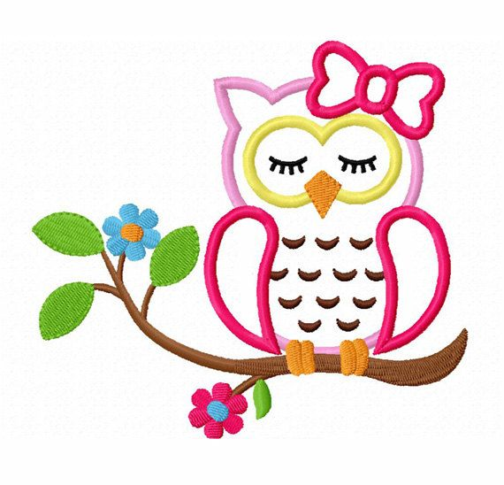 Instant Download Sleeping Girl Owl On Branch Applique Machine ...