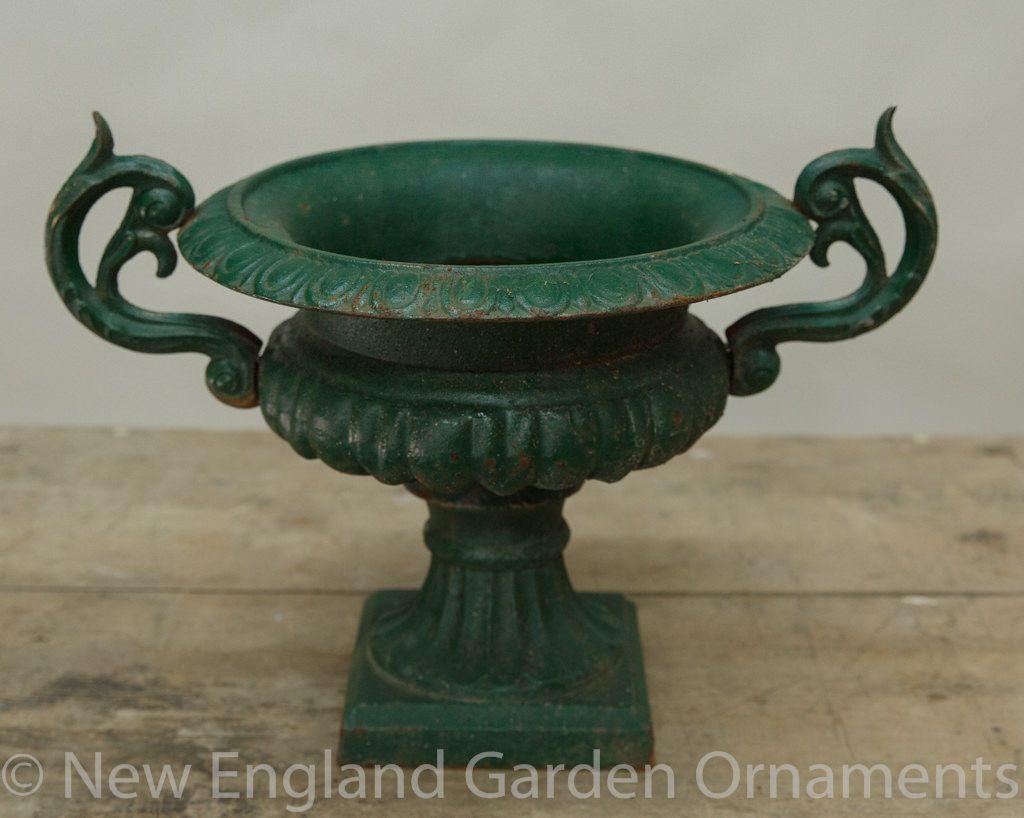 Petite Antique Iron Urns Pair Antique Iron Antique Iron Urns Antique Cast Iron