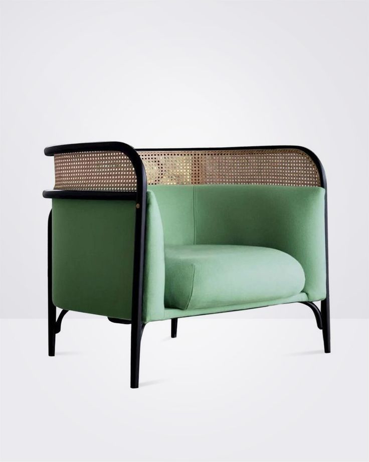 Vintage Cheap Furniture: Green Sofa Chairs With Black Lines.Classic Style. In 2019
