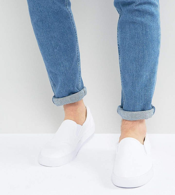 Asos Wide Fit Slip On Sneakers In White