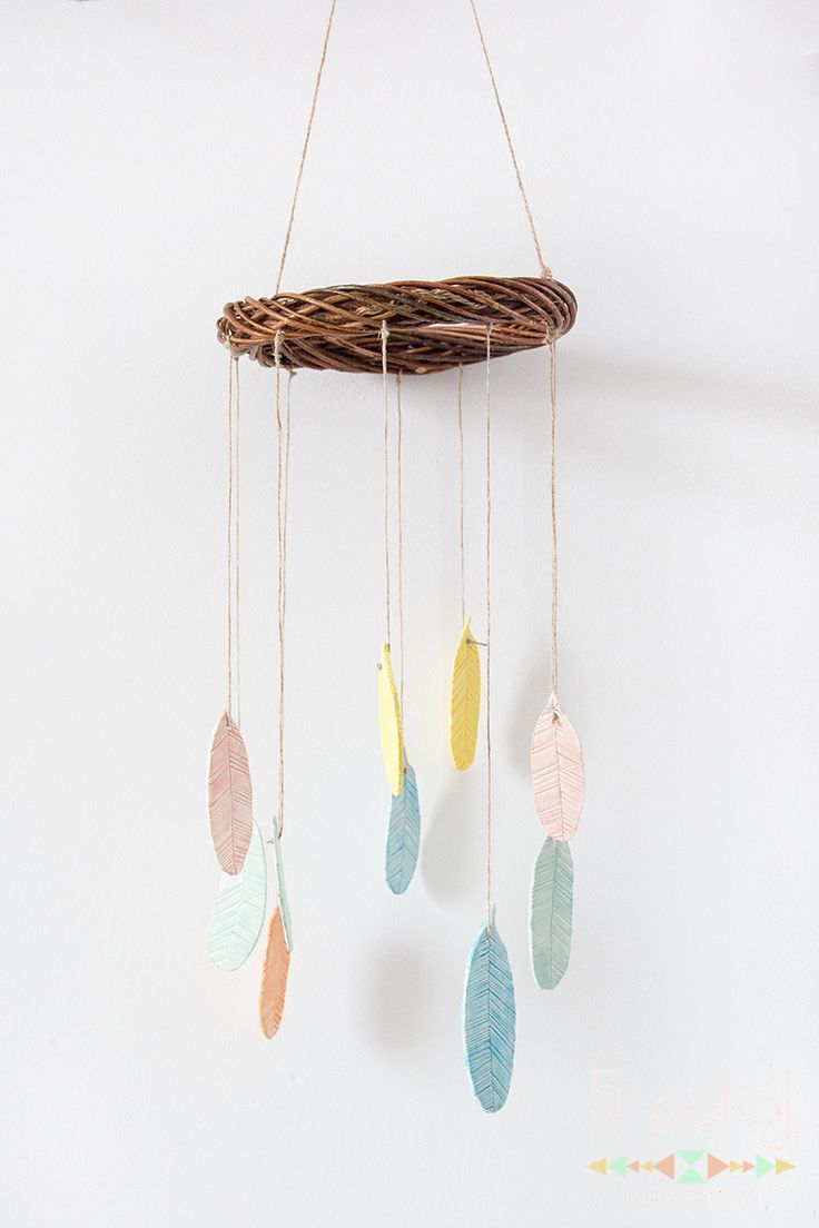 Diy Air Drying Clay Feathers Mobile Create Craft Ideas