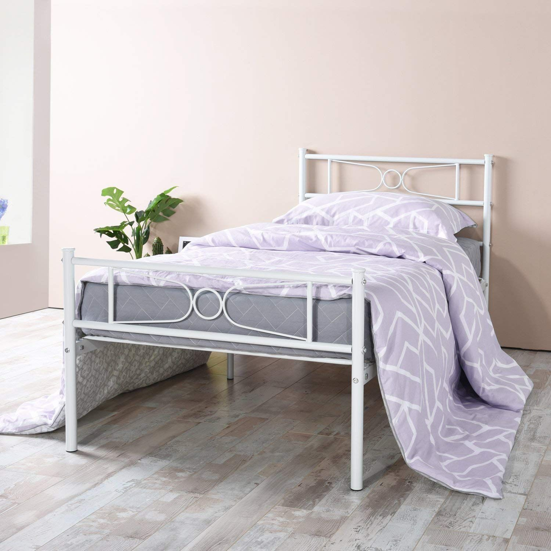 Bed Frame Twin Size Easy Set Up Premium Metal Platform Mattress Twin Size Metal Bed Frame Metal Bed Frame Minimalist Bed Frame Twin bed frame and mattress set
