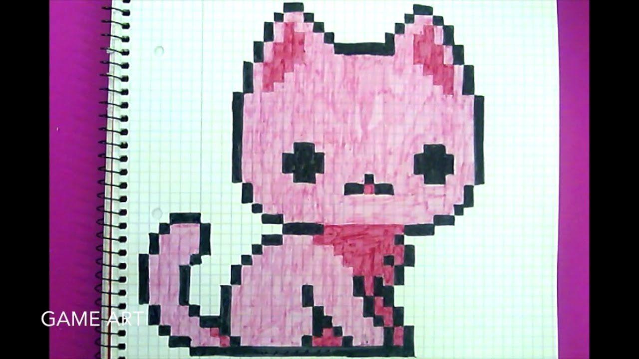 Pixel Art Comment Dessiner Un Chat Rose Trop Mignon Le