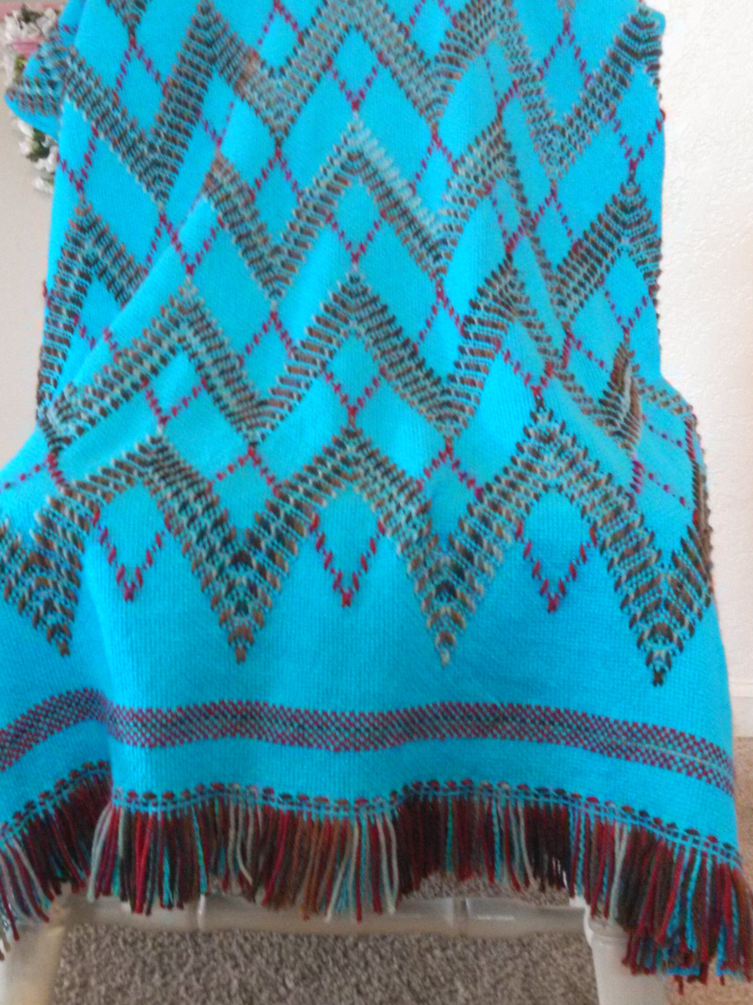 Swedish Weaving Blanket. Peaks and Valleys pattern with variegated brown  and rust red yarn on turquoise monk's cloth.