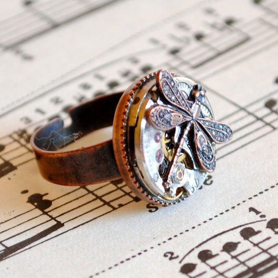 Steampunk Ring with Vintage Watch Movement and Dragonfly