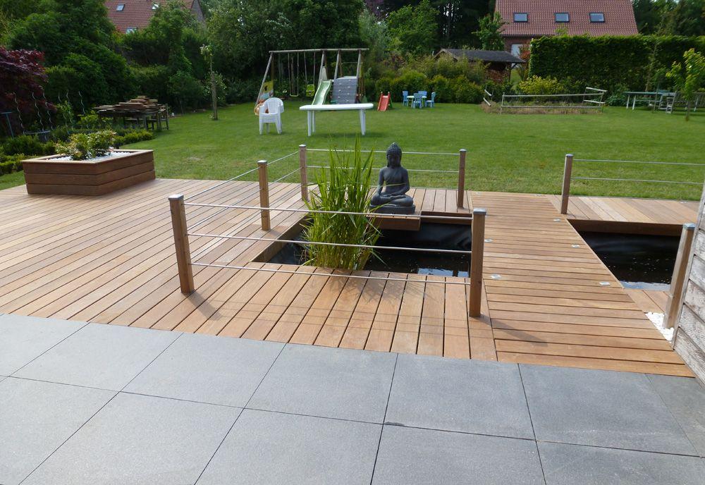 Terrasse en bois composite ipé avec jardinières ipé et dalles ...