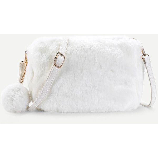 SheIn(sheinside) Faux Fur Overlay Shoulder Bag With Pom Pom ( 15 ... 11108a2dd2
