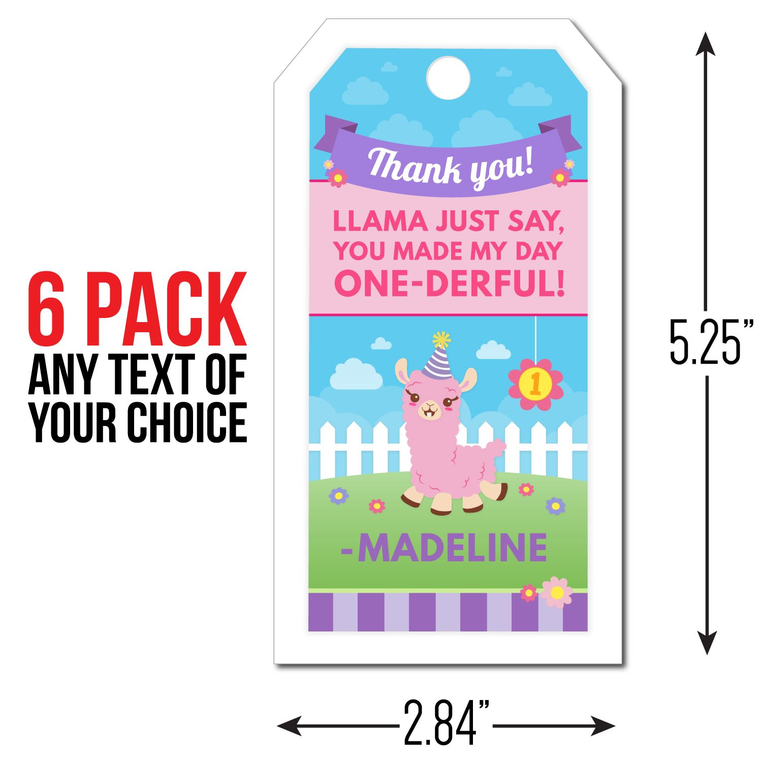 Little llama personalized thank you tags 8 pk party