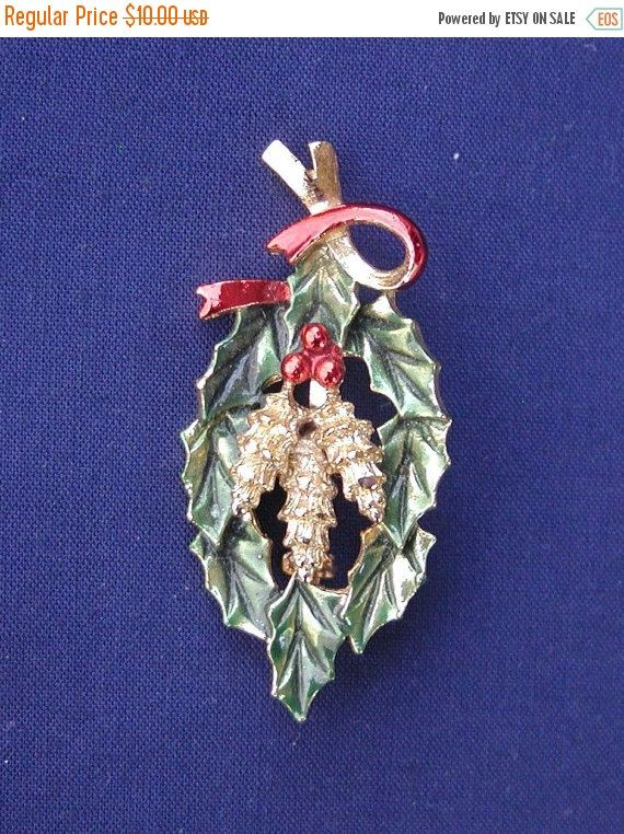 SALE Brooch Holiday Brooch Featuring Swag of Holly Accented by Bright Berries Textured Gold Tone Pine Cones and a Twirl of Red Ribbon