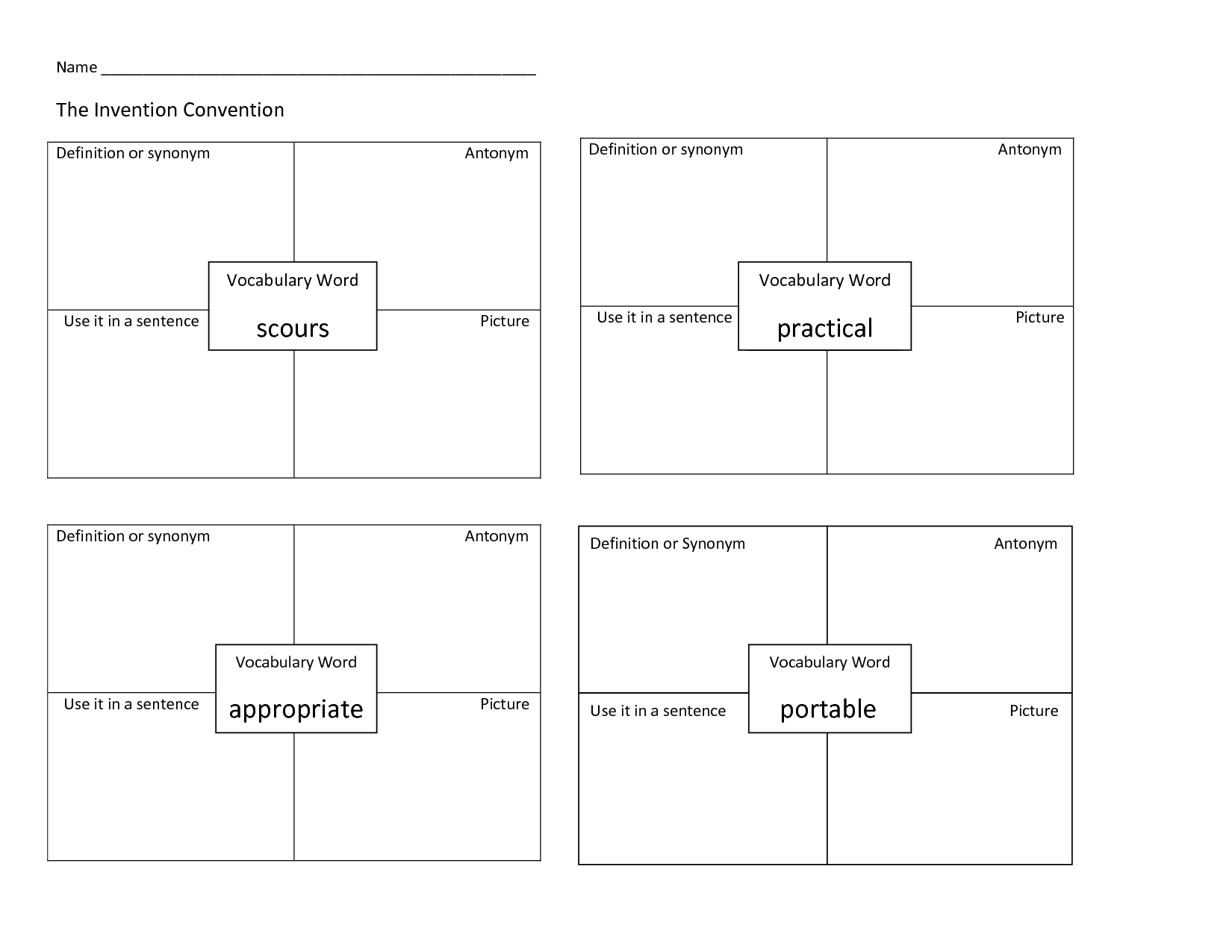 Graphic Organizers For Foreign Language Vocabulary