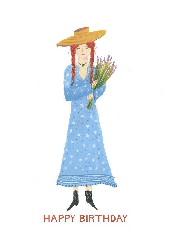 Happy Birthday Flower Girl Card Red Head By HutchCassidy