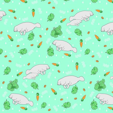 Manatee With Vegetation Fabric By Natelledrawsstuff On Spoonflower Custom Fabric Manatee Fantastic Wallpapers Fabric