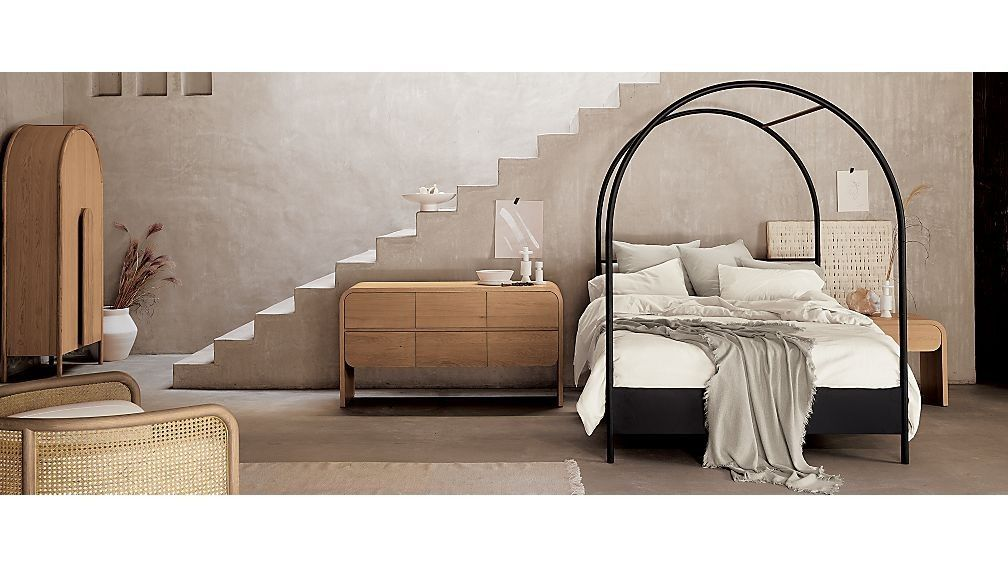 Canyon Queen Arched Canopy Bed With Upholstered Headboard Crate And Barrel In 2020 Upholstered Headboard Narrow Living Room Platform Bed Designs