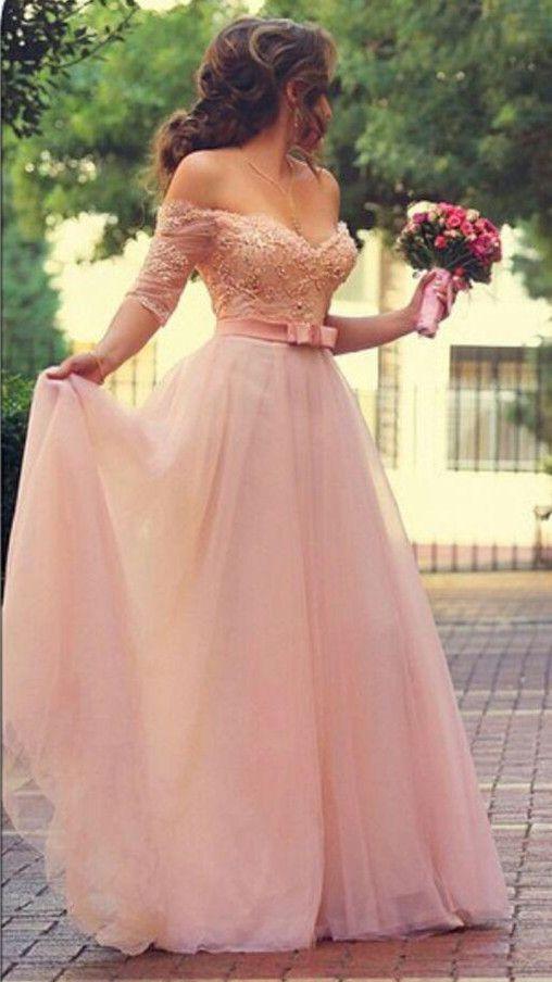 Rosa Brautkleider Lang Mit Ärmel Spitze Perlen Tüll Brautmoden  Hochzeitskleider Günstig Brautkleider,Abiballkleider,Abendkleider a941aeaf10