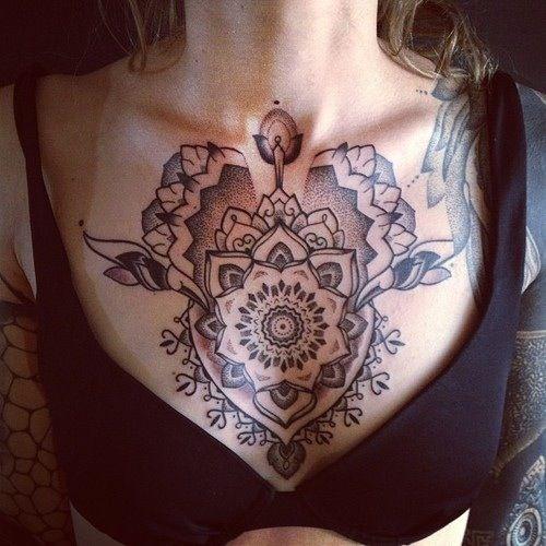 Dotwork Blackwork Mandala Chest Tattoo Chest Tattoos For Women Tattoos For Women Trendy Tattoos