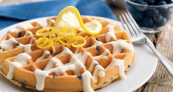 Lemon Cream Blueberry Waffles | Krusteaz