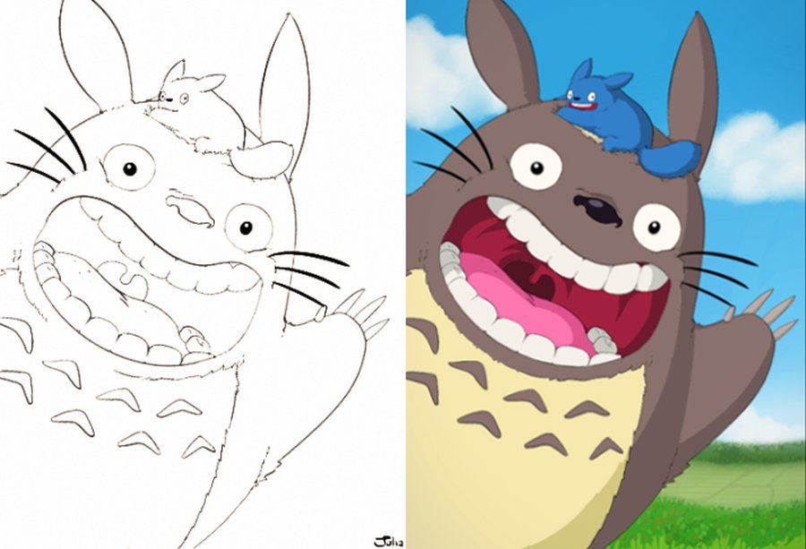 "Julia on Twitter: ""My Totoro drawing from outline to ..."
