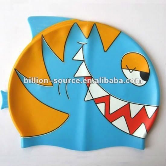 cool cute silicone shark swim caps for kids boys girls $0.8~$1.68