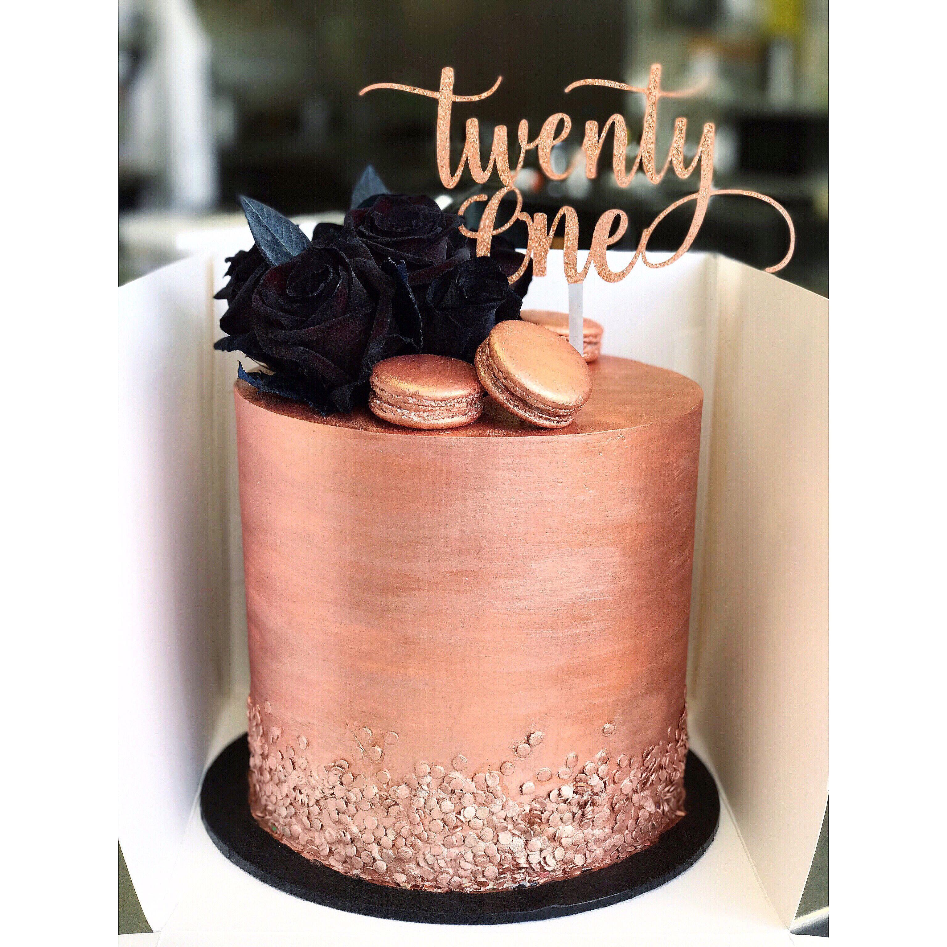 Rose Gold And Black Twenty First Cake