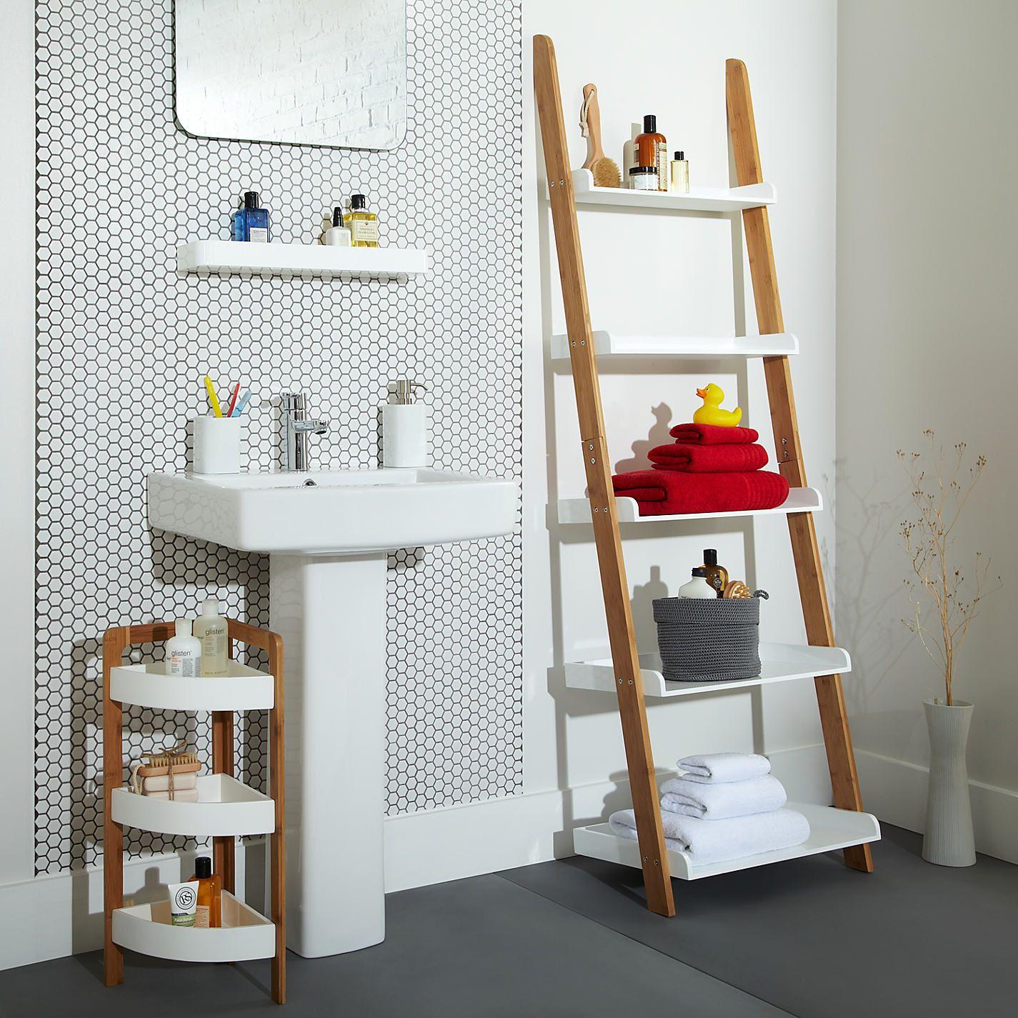 Fresco Of Cottage Bathroom Look? Add This Bathroom Ladder Shelf