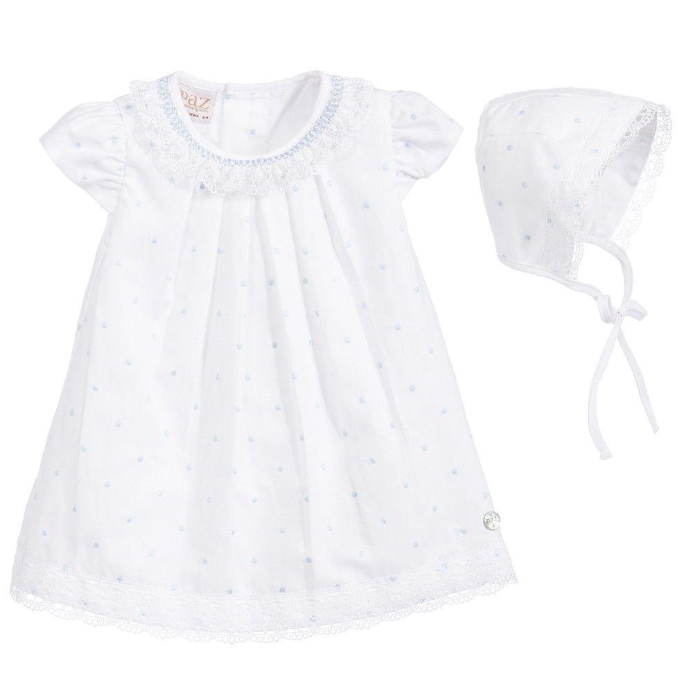3bf6c98ad Baby Girls White Linen Dress   Bonnet