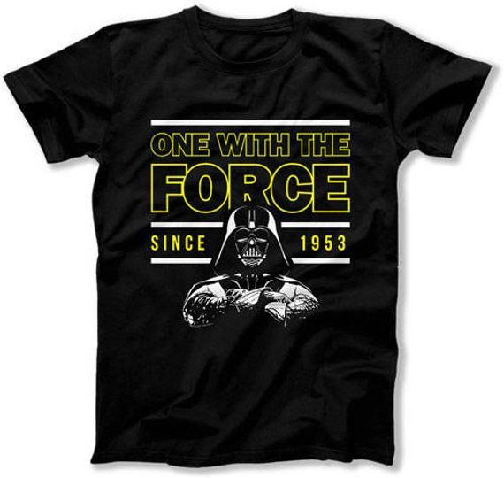 Funny Birthday Shirt 65th Gift Ideas For Him Nerd T Geek Clothing One With The Force
