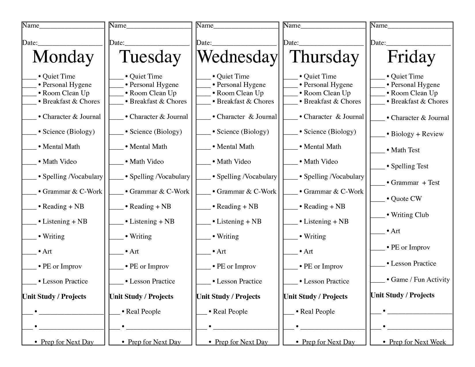 Loop Schedule For Morning Time From Homeschool Daily