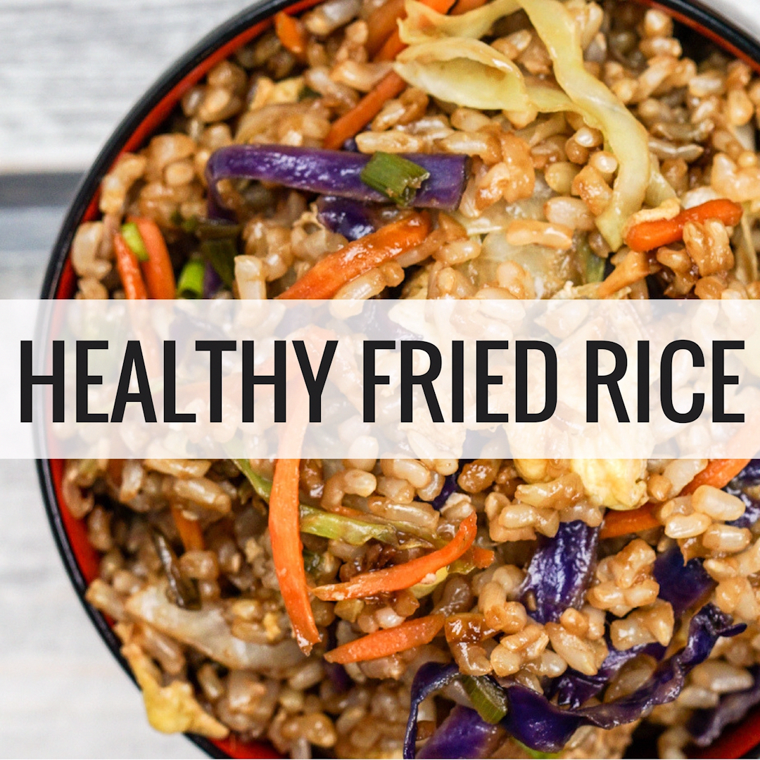 Healthy Fried Rice made with cooked brown rice, eggs, and cabbage tastes just like the real thing but only has 130 calories per serving. This tastes as good as any restaurant version but is healthy and good for you.