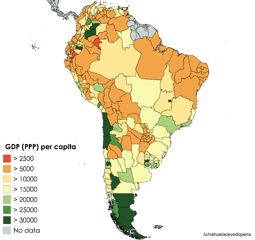 Map Of South America 2017.South American National Subdivisions By Gdp Per Capita 2017 Maps