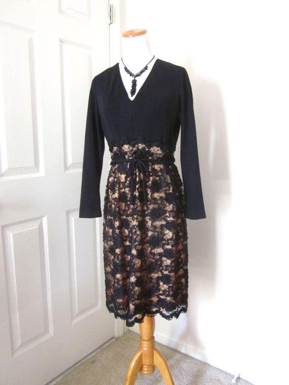 1fd5ef38940b Vintage Dress Black Lace 1970's Fashion by TenderLane on Etsy Vintage  Dresses 1960s, Vintage Inspired