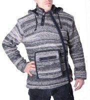 Herren Baja Nepal Strickjacke Poncho Pullover  Wolle mit Fleecefutter und Zipfelkapuze