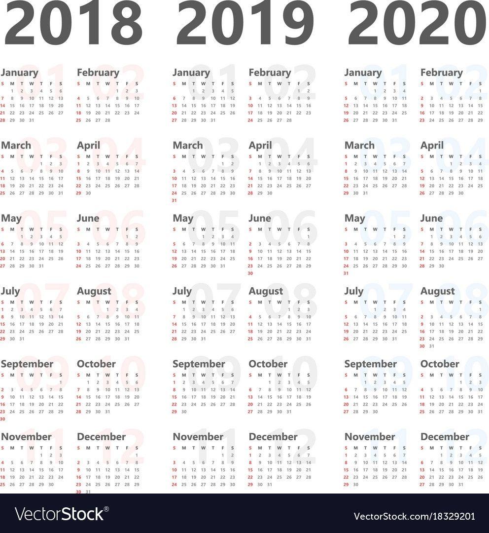 Impressive 3 Year Calendar 2020 In 2020 Calendar 2020 Calendar Printables Calendar