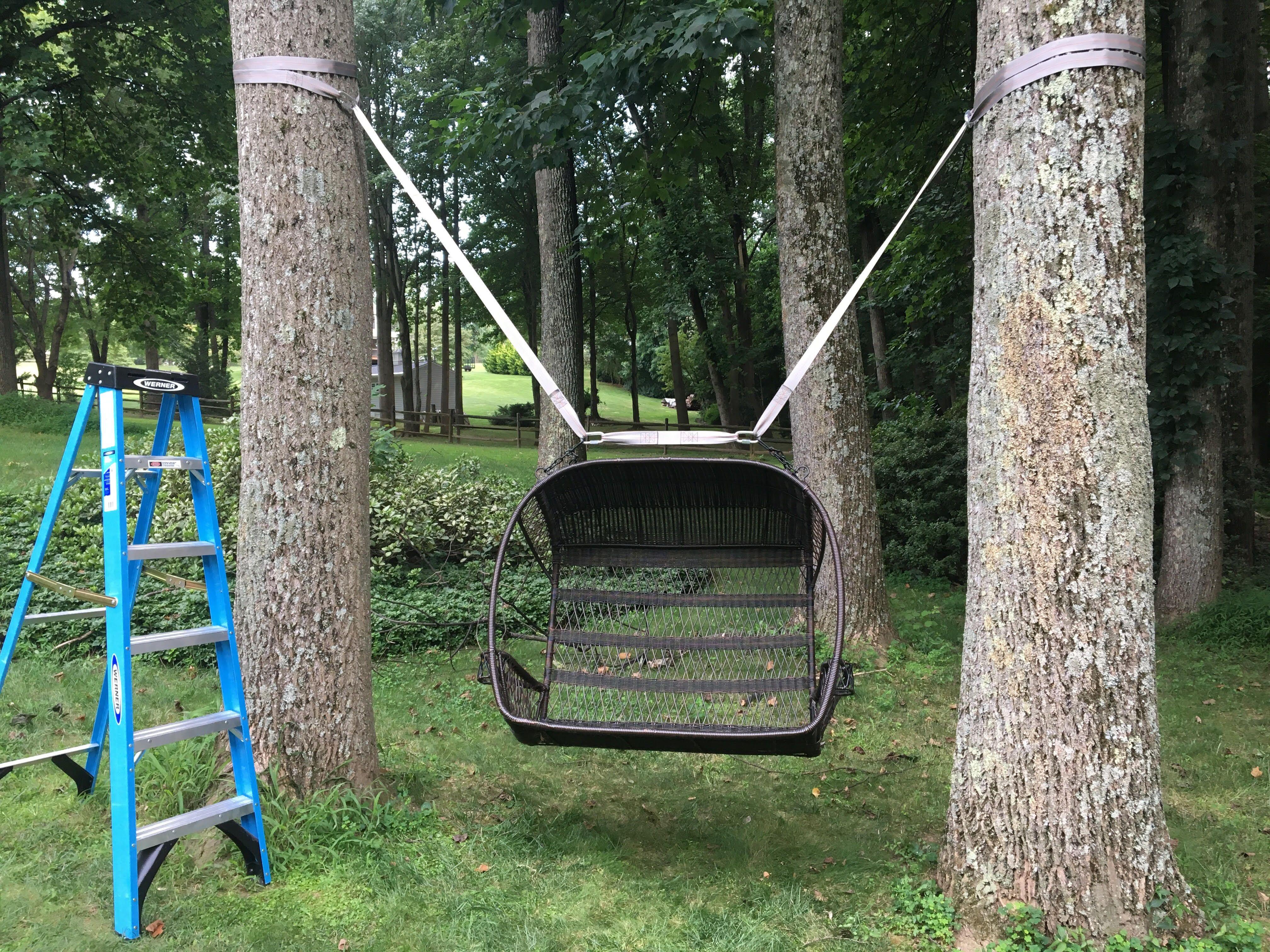 Swing Hanging Kit Between 2 Trees Tree Swings Diy Wood Tree Swing Tree Swing