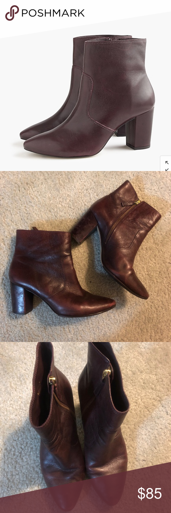 6eb095d5dcf2 J Crew Burgundy Leather Booties Gorgeous burgundy   wine colored Leather  zip ankle boots from J. Crew. Sleek and modern