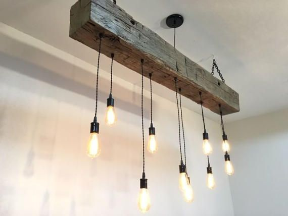 60 reclaimed barn beam light fixture with led edison. Black Bedroom Furniture Sets. Home Design Ideas
