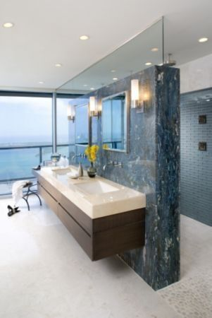 love the shower behind the vanity wall: | modern bathroom