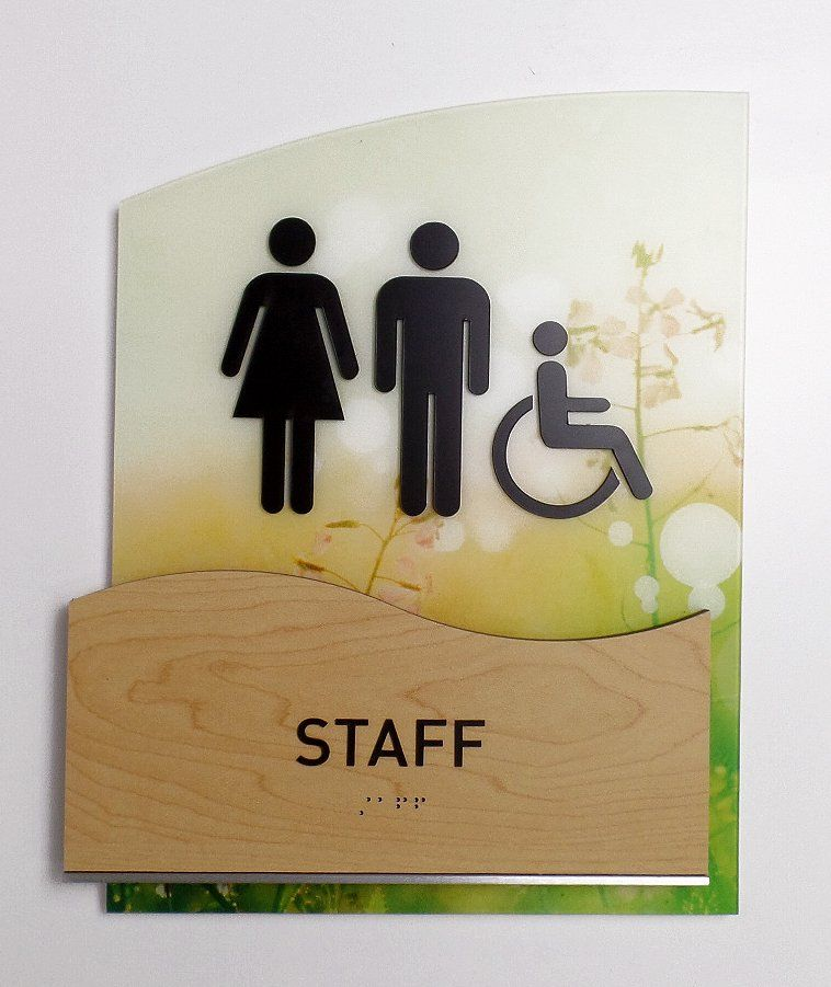 Bathroom Sign Mockup ada restroom signs, with standoffs, houghton series, brushed