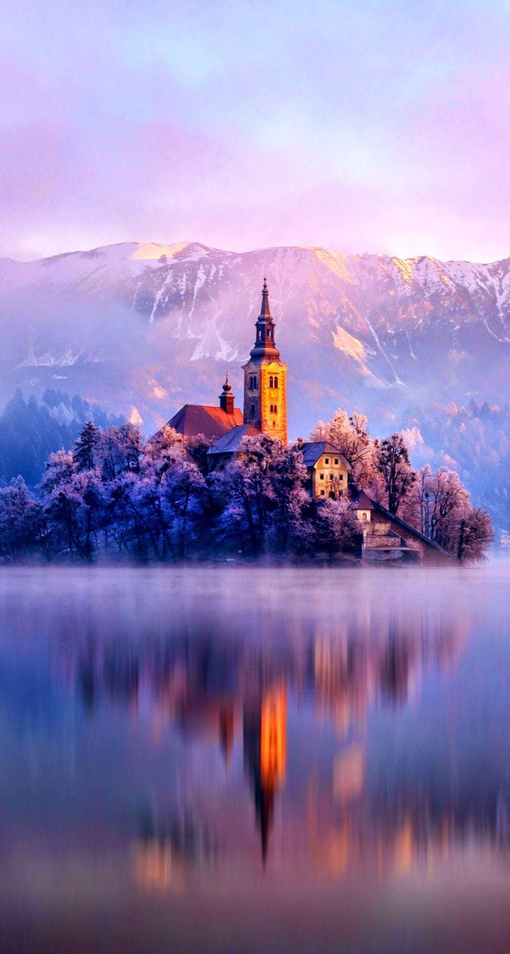 Wallpaper iphone winter - Lake Monastery Fortress Winter Iphone 6 Plus Hd Wallpaper