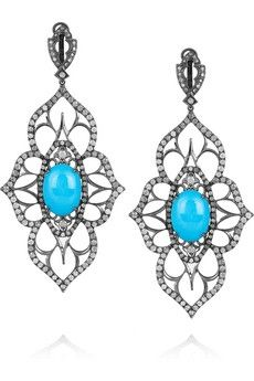 Loree Rodkin|Open Flower 18-karat rhodium white gold and diamond drop earrings|NET-A-PORTER.COM - StyleSays