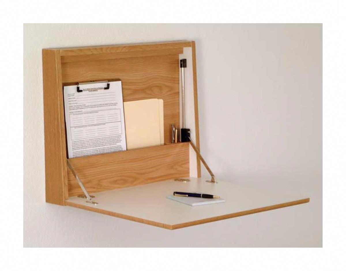 Folding Desk Laptop Station For Wall Mount Oak Wall Desk