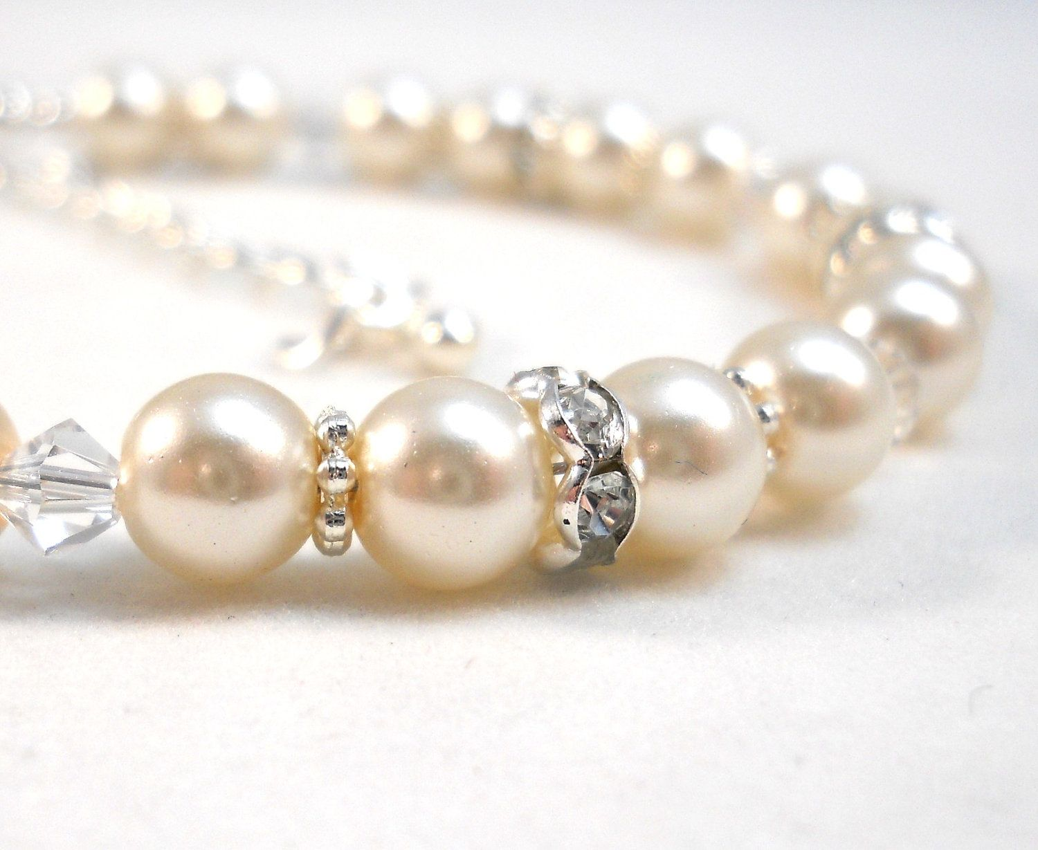 Flower Girl Bracelet Ivory Pearls Swarovski Crystals Childrens