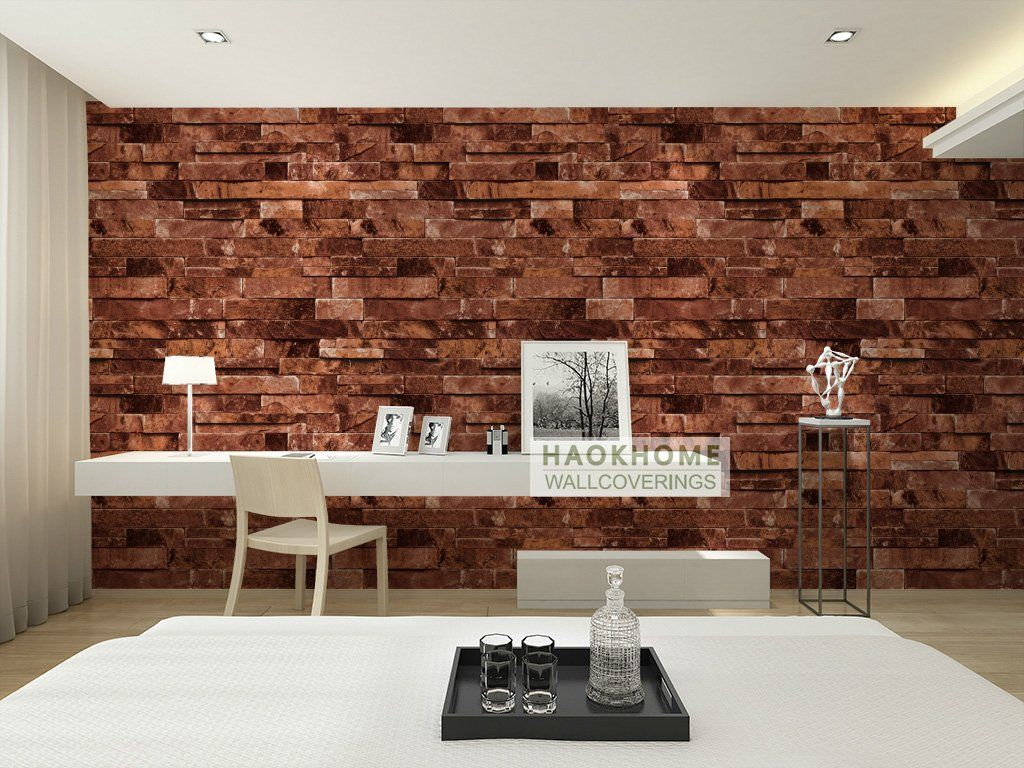 HaokHome 91302 Modern Faux Brick Stone Textured Wallpaper